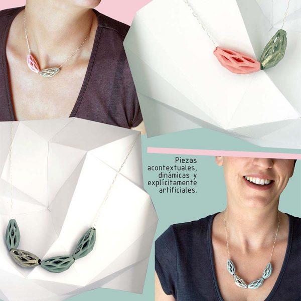 collar diamotea 2 rosa y plata de BaRock jewelry