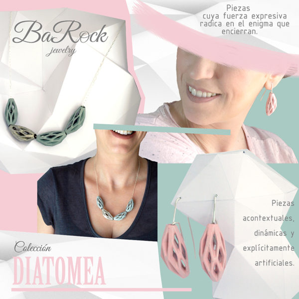 collar diamotea 4 verde y plata de BaRock jewelry presentación colección
