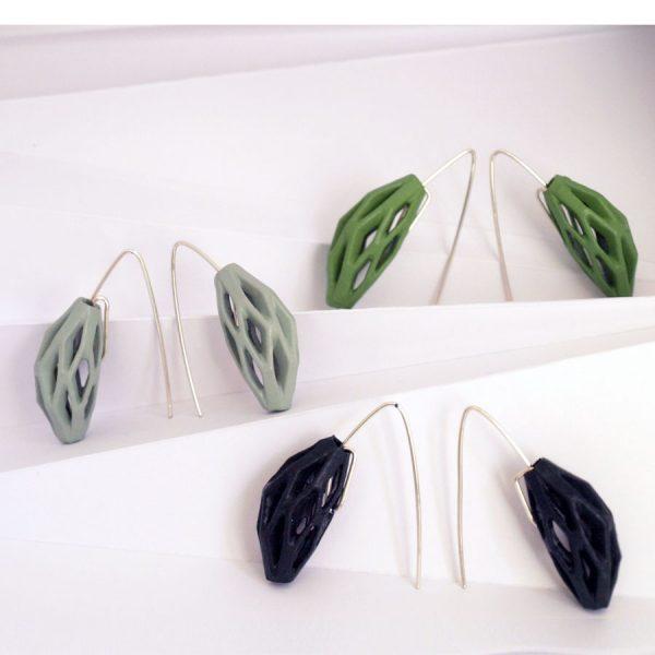 pendientes colgantes diamotea colección tonos verdes de BaRock jewelry