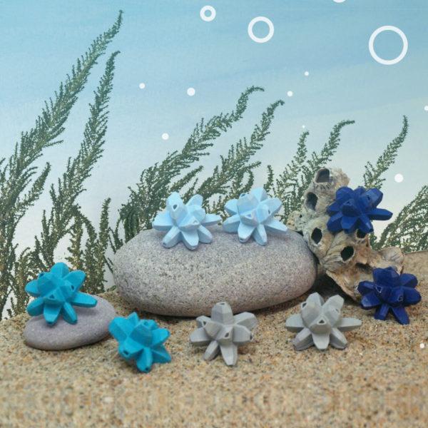 pendientes medios belaki tonos azules de BaRock jewelry