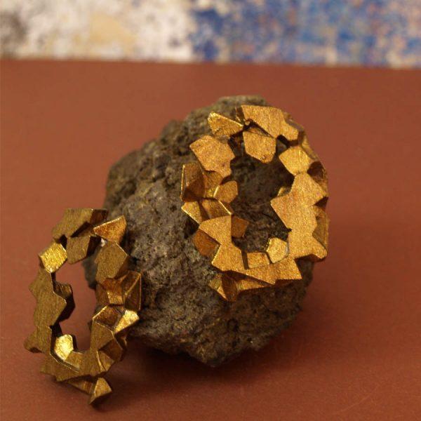 pendientes redondos harria cobre sobre piedra de BaRock jewelry