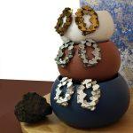 Colección pendientes redonodos harria plata antracita y cobre