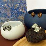 Colección pendientes pequeños harria plata antracita y cobre