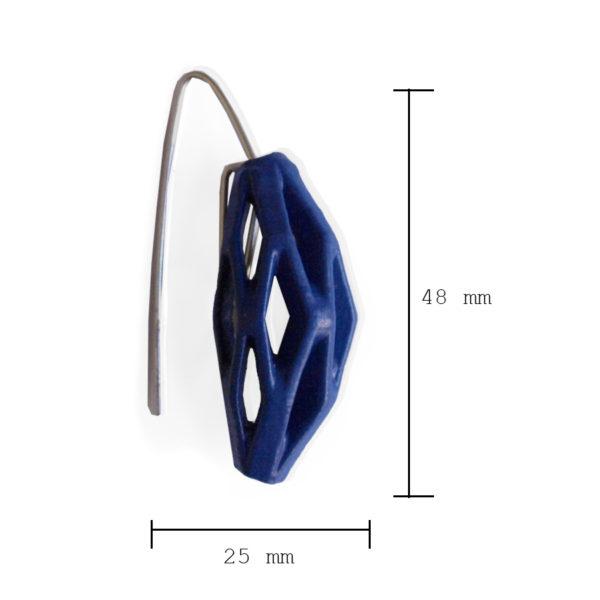 Medidas pendientes originales impresos en 3d BaRock jewelry, acabados en planta y pintados a mano. Colección diamotea, pendientes originales colgantes azul marino