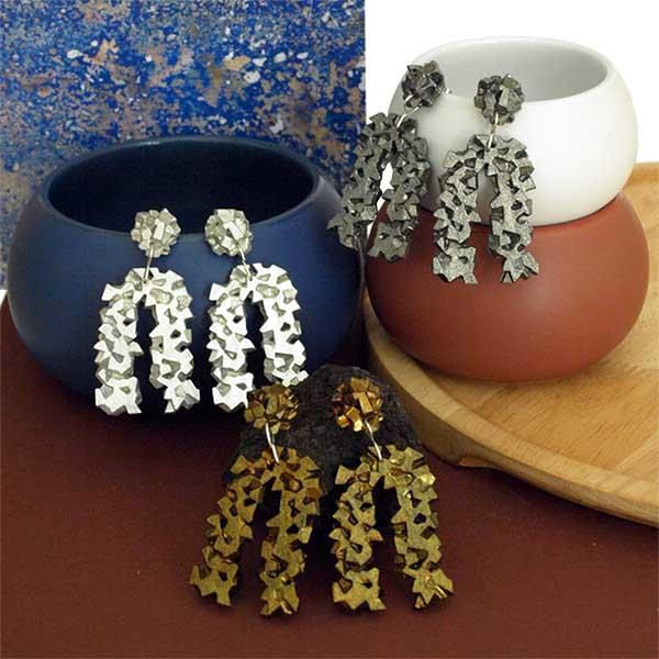 Colección pendientes originales herradura harria plata antracita y cobre