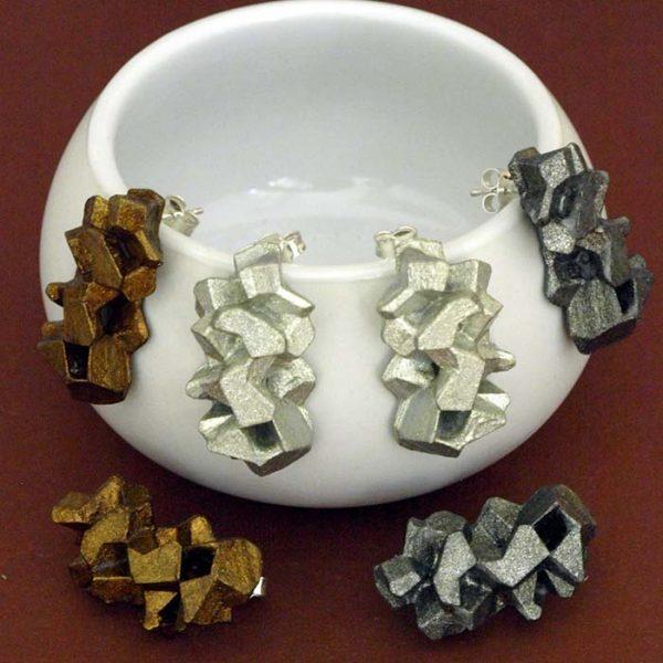Colección pendientes medianos harria plata antracita y cobre