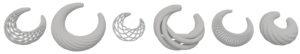 Collar para el blog de BaRock jewelry. Joyeria paramétrica y algortimos. Render de variaciones de collar. Gris sobre blanco.