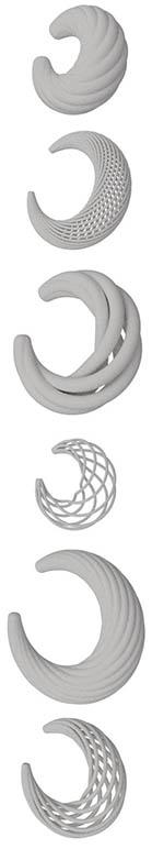 Collar para el blog de BaRock jewelry. Joyeria paramétrica y algortimos. Render de variaciones de collar. Gris sobre blanco.vertical