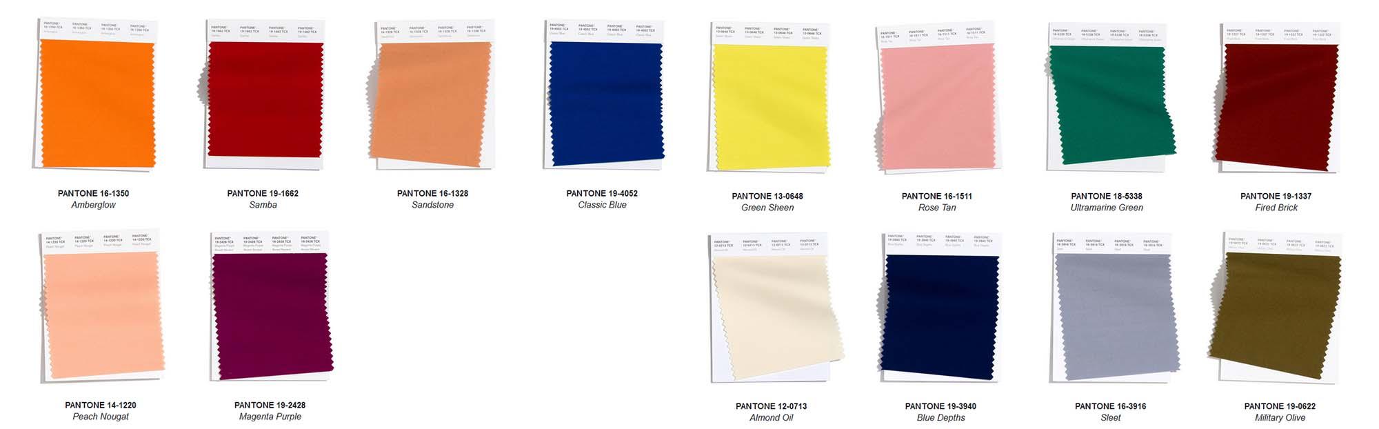Muestras de colores Pantone para el invierno 2020