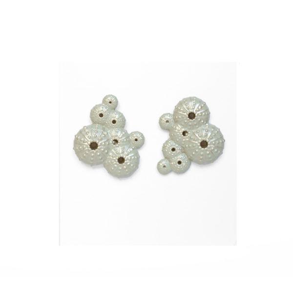 pendientes asimétricos triku de BaRock jewelry sobre expositor blanco