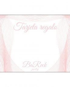 tarjeta regalo BaRock jewelry en rosa sobre fondo blanco