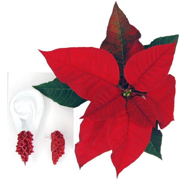 Pendientes petalos rojos en cascada sobre oreja blanca y con planta de pascua roja
