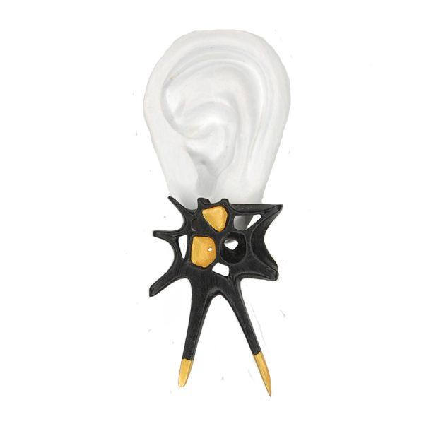 Pendientes espina negros grandes sobre oreja blanca